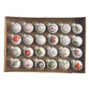 24 Mini Boules de l'Avent Blanc (3 cm) - Verre