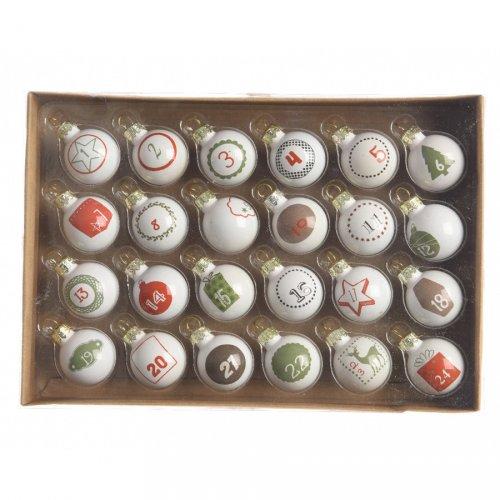 24 Mini Boules de l Avent Blanc (3 cm) - Verre