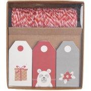 Kit Etiquettes Cadeaux Rouge/Blanc/Gris