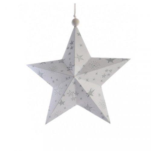 Etoile Noël Douceur Blanc/Gris (14 cm) - Papier