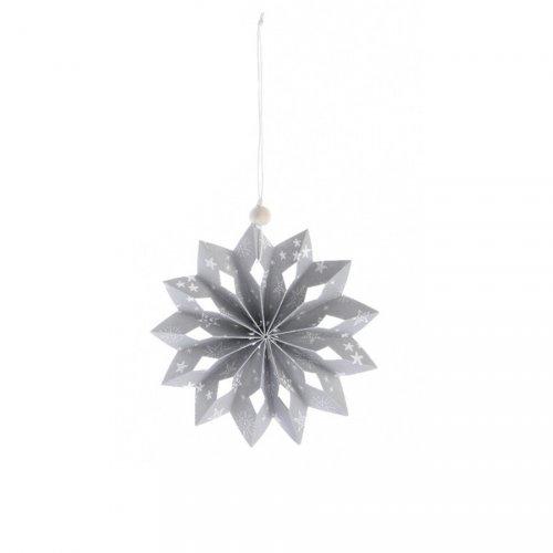 Flocon Noël Douceur Gris/Blanc (12 cm) - Papier
