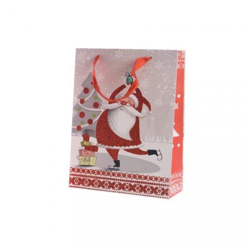 Grand Sac Cadeau Père Noël Glitter (42 cm)