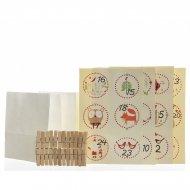Kit Calendrier de L'Avent DIY Animaux - Sachets, Pinces et Stickers