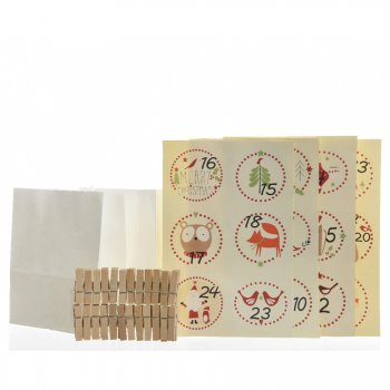 Kit Calendrier de L Avent DIY Animaux - Sachets, Pinces et Stickers