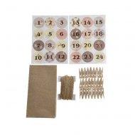 Kit Calendrier de L'avent DIY - Sacs, Pinces, Corde et Stickers