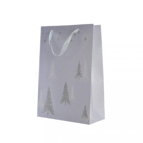 Grand Sac Cadeau Sapin Argent/Ciel (42 cm)
