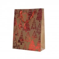 Grand Sac Cadeau Sapin Rouge/Kraft (42 cm)