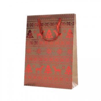 Grand Sac Cadeau Renne Rouge/Kraft (42 cm)