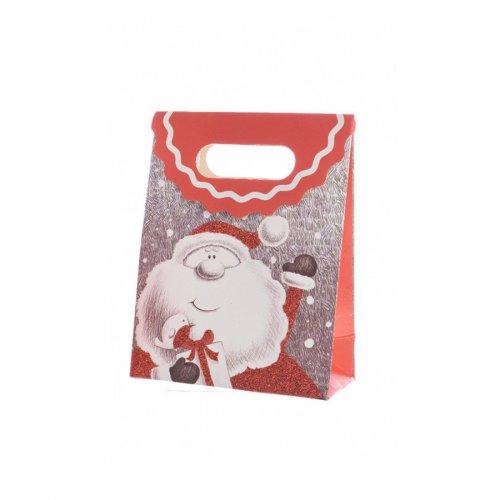Petit Sac Cadeau Joyeux Père Noël Glitter (16 cm)