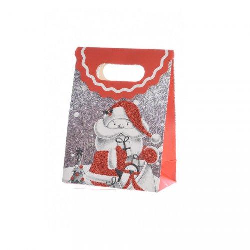 Petit Sac Cadeau Père Noël Glitter (16 cm)