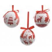 7 Boules Noël Renne et Sapin (7,5 cm) + Boîte