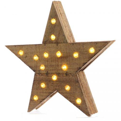 Etoile Lumineuse Rustique 15 LED (30 cm) - Bois