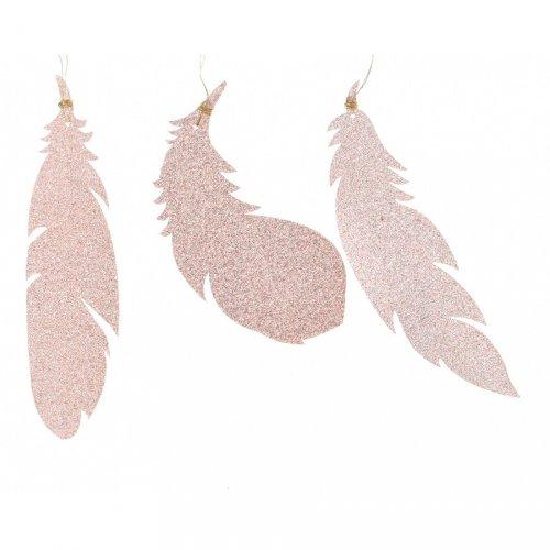 6 Suspensions Plumes Rose Glitter (12,5 cm) - Plastique