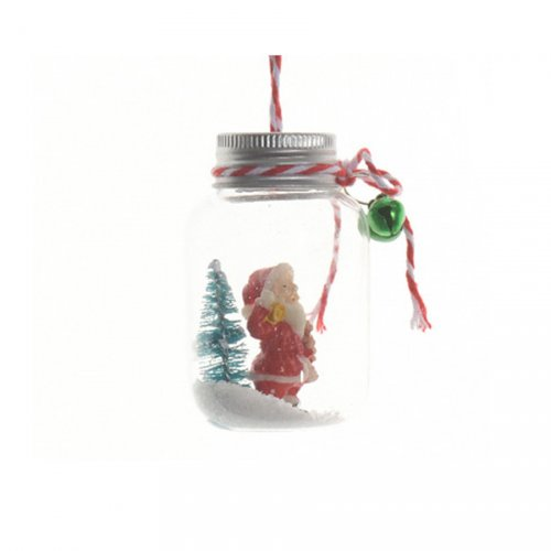 Suspension Mini Bocal Père Noël enneigé (7 cm) - Verre