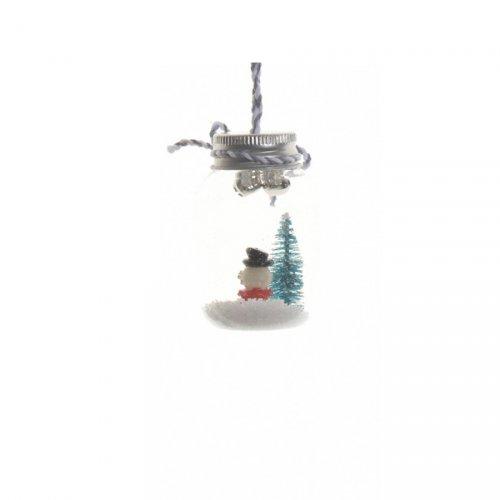 Suspension Mini Bocal Bonhomme enneigé  (7 cm) - Verre