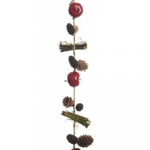 Guirlande Noël Nature Pins, Pommes et Fagots (95 cm)