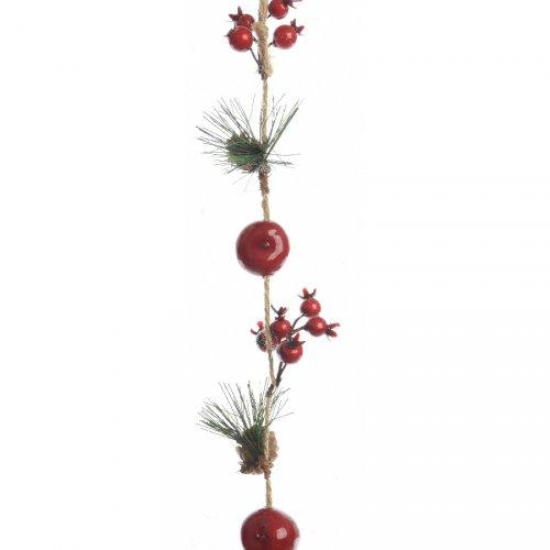 Guirlande Noël Nature Pins Pommes et Baies (105 cm)