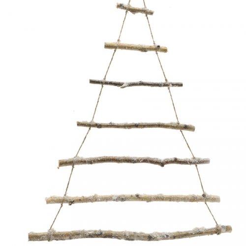 Sapin Mural Branches enneigées (103 cm) - Bois et Corde