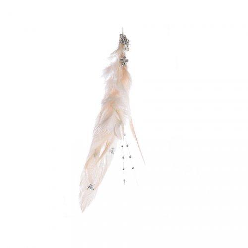 Suspension Plume Bijou Crème (14 cm)