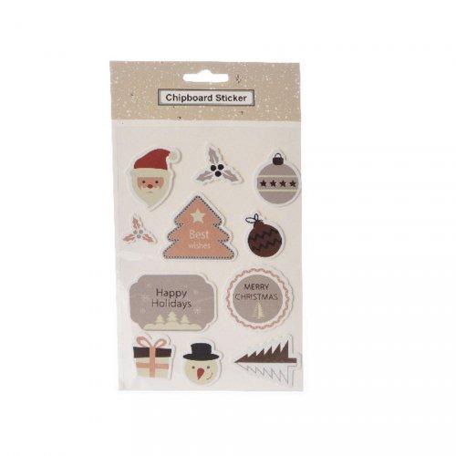 11 Stickers Chipboard Noël Cuivre