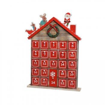 Calendrier de l Avent Maison et Père Noël (45 cm) - Bois