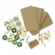 Kit Calendrier de L'avent DIY Vert - Sacs, Pinces, Corde et Stickers