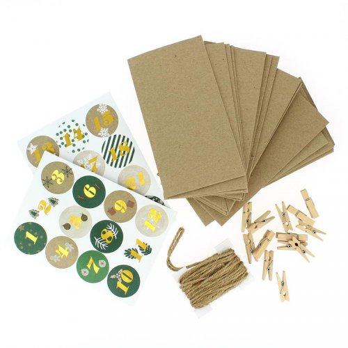 Kit Calendrier de L avent DIY Vert - Sacs, Pinces, Corde et Stickers