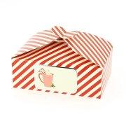 6 Boîtes Cadeaux Rouge Rayures/Uni - Carton