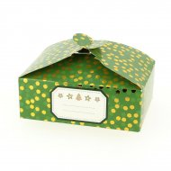 6 Boîtes Cadeaux Confettis Or/Vert uni - Carton