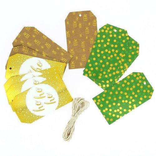 12 Etiquettes Cadeaux Ho Ho Ho avec Ficelle