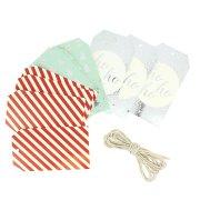 12 Etiquettes Cadeaux Rayures avec Ficelle