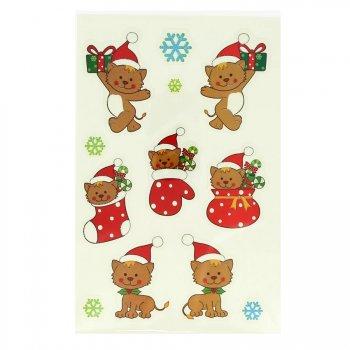 12 Stickers Noël Glitter - Chats et Flocons