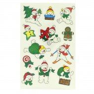 12 Stickers Noël Glitter - Bonhomme de Neige