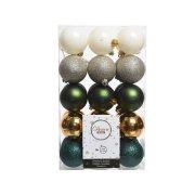 30 Boules Noël Vert/Blanc/Argent/Or (6 cm)
