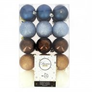 30 Boules Noël Bleu/Blanc/Argent/Marron/Bronze (6 cm)