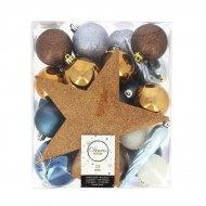 32 Boules Noël Bleu/Chocolat/Blanc + Cime Etoile Bronze