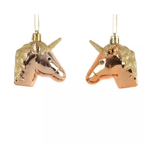 2 Suspensions Licornes Or (6 cm)