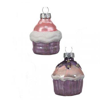 2 Suspensions Cupcakes Rose/Parme/Violet (5 cm) - Verre