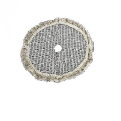 Cache Pied de Sapin Gris Ecossais et fausse Fourrure (90 cm)