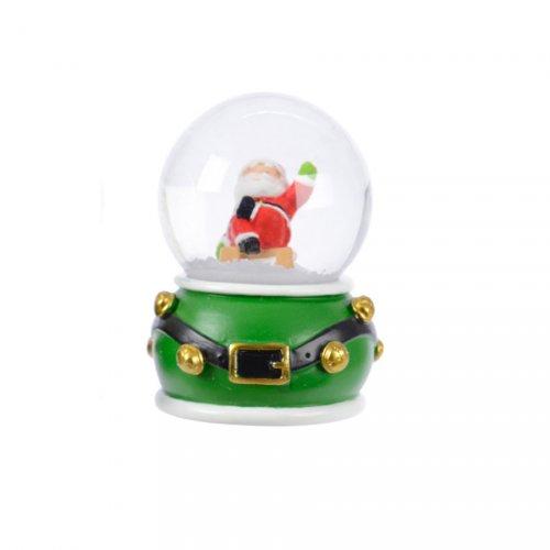 Petite Boule à Neige Père Noël ceinture (6,5 cm)  - Rouge ou Vert
