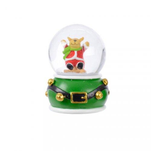 Petite Boule à Neige Renne ceinture (6,5 cm) - Rouge ou Vert