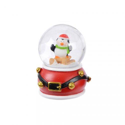 Petite Boule à Neige Pingouin ceinture (6,5 cm) - Rouge ou Vert