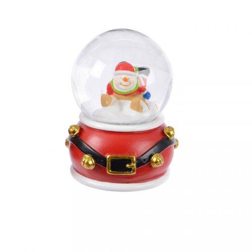Petite Boule à Neige Bonhomme de Neige ceinture (6,5 cm) - Rouge ou Vert
