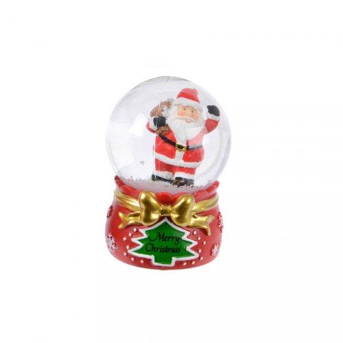 Petite Boule à Neige Père Noël avec sa Hotte (6,5 cm)