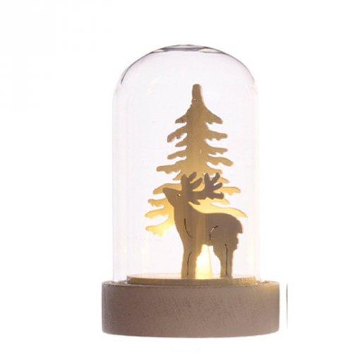 Petite Cloche Lumineuse Décor Blanc Renne (8 cm) - Verre/Bois