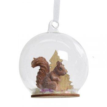 1 Suspension Boule à Neige Ecureuil (8 cm) - Verre/Bois