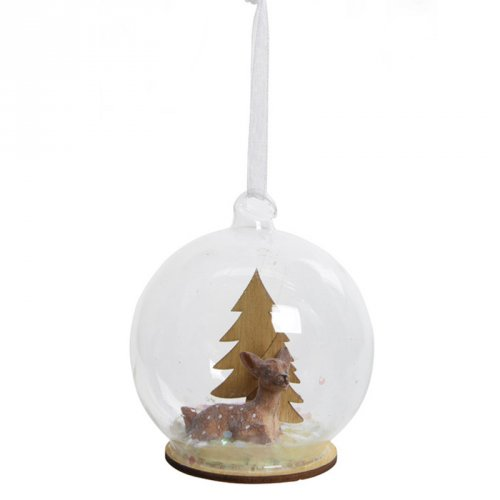 1 Suspension Boule à Neige Faon (8 cm) - Verre/Bois