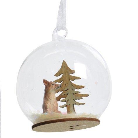 1 Suspension Boule à Neige Renard (8 cm) - Verre/Bois