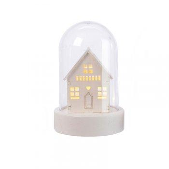 Cloche Lumineuse Décor Blanc Maison (10 cm) - Plastique/Bois