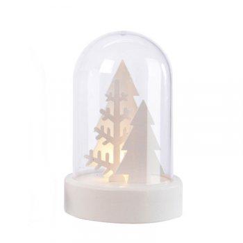Cloche Lumineuse Décor Blanc Sapins (10 cm) - Plastique/Bois